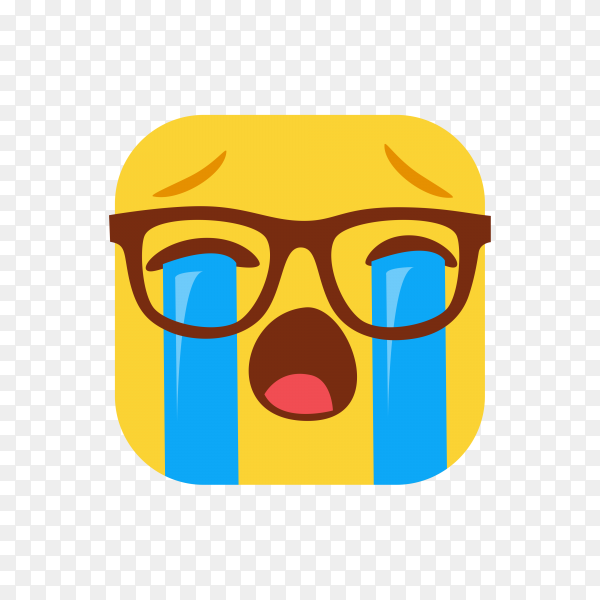 Loudly crying face with Sunglasses on transparent background PNG