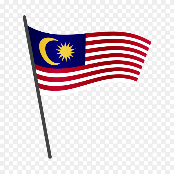 Malaysia flag isolated on transparent background PNG