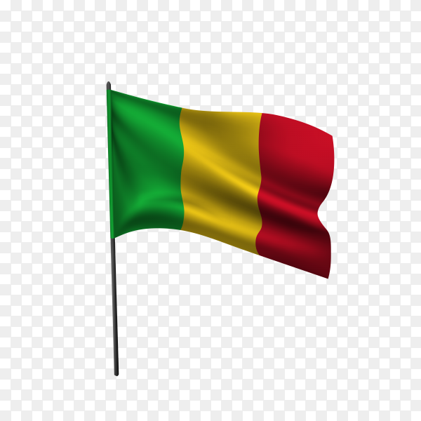 Mali flag waving on a flagpole on transparent background PNG