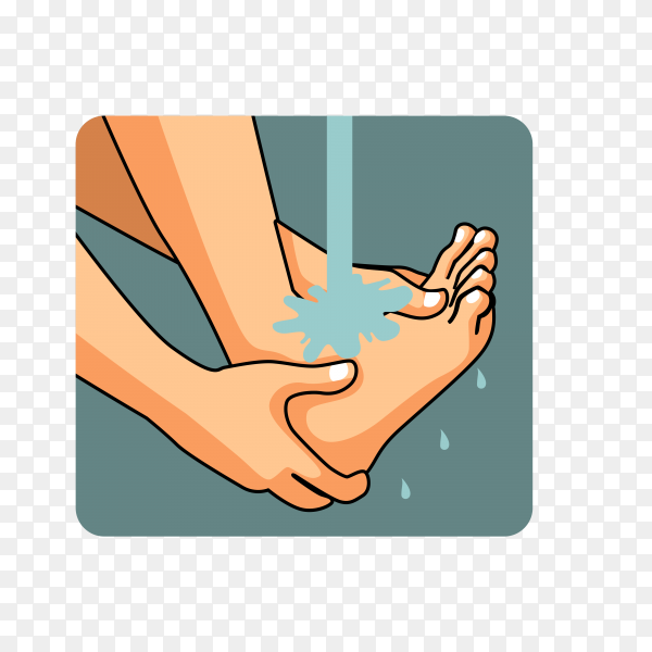 Man muslim perform ablution (wudhu) washing foot before prayer on transparent background PNG