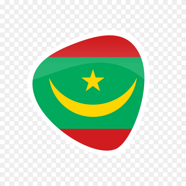 Mauritania flag icon on transparent background PNG