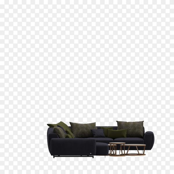 Minimal living room with classic sofa on transparent background PNG