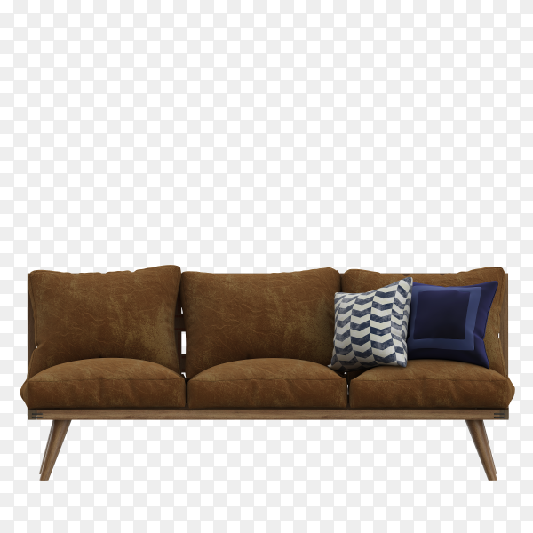 Modern Brown fabric sofa with legs and pillows on isolated on transparent background PNG