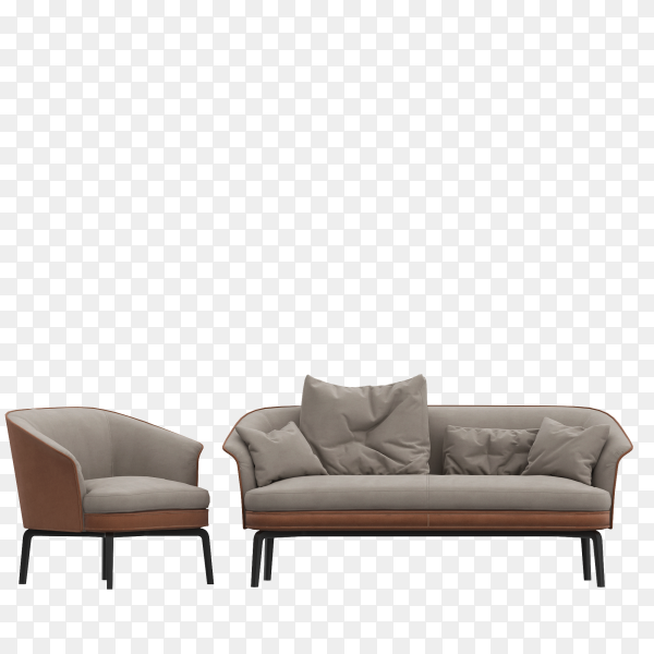 Modern chair and a large sofa with cushions on transparent background PNG