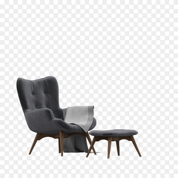 Modern gray armchair with a blanket and small table on transparent background PNG