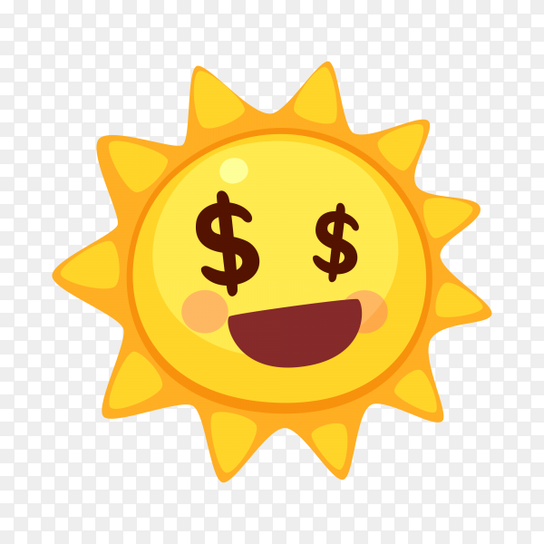 Money Sun face on transparent background PNG