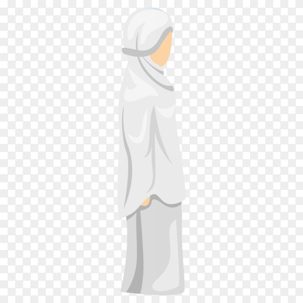 Muslim female praying isolated on transparent PNG