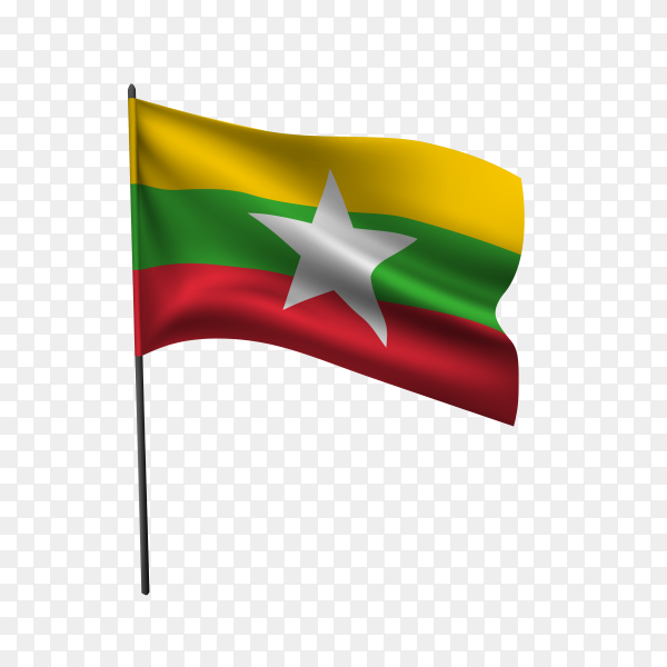 Myanmar flag waving on a flagpole on transparent background PNG