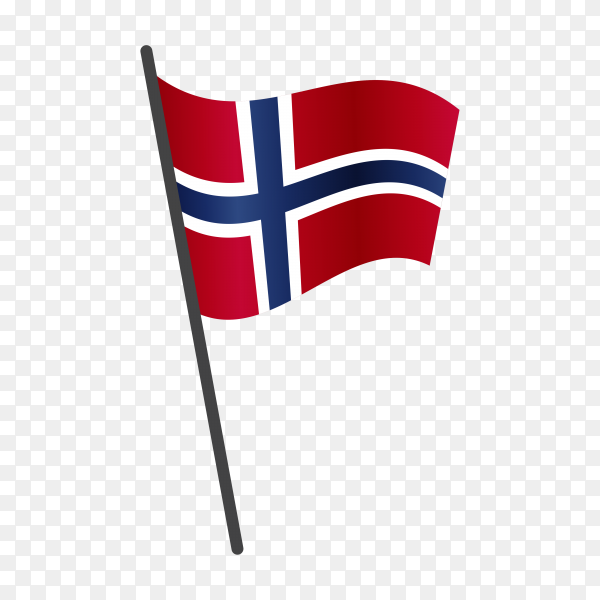 Norway flag waving on a flagpole on transparent background PNG