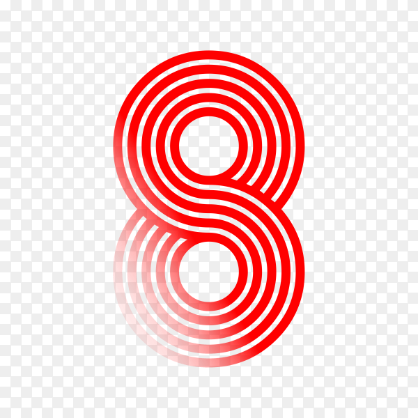 Number Eight in red color on transparent background PNG