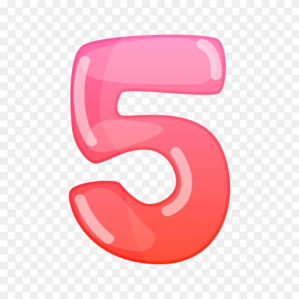Number Five in flat design on transparent background PNG