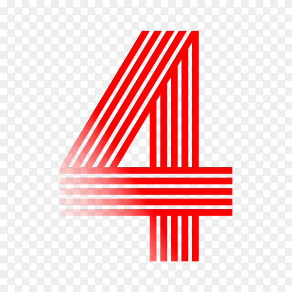 Number Four in red color on transparent background PNG