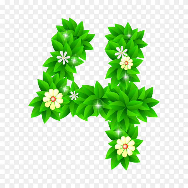 Number Four of the green and white flowers isolated on transparent background PNG