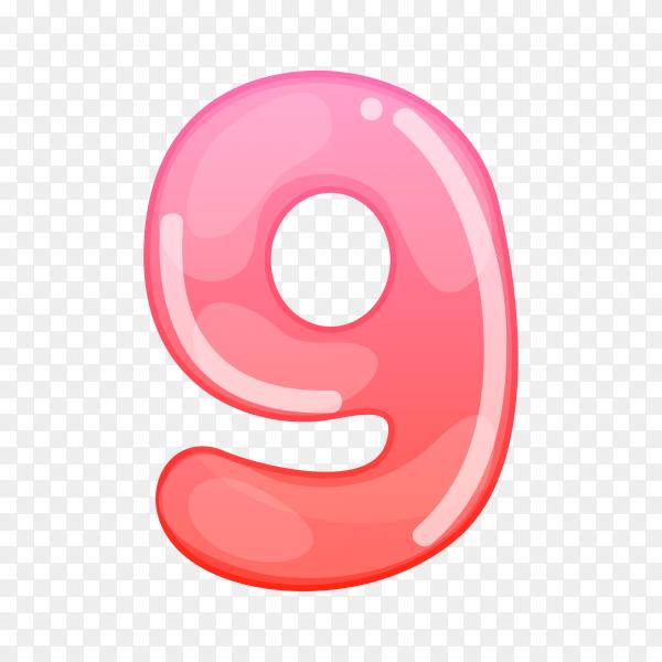 Number Nine in flat design on transparent background PNG