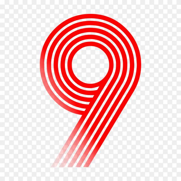 Number Nine in red color on transparent background PNG
