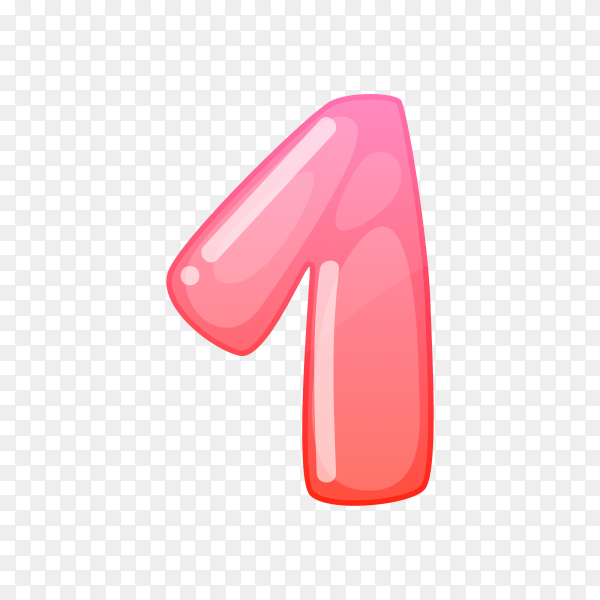 Number One in flat design on transparent background PNG