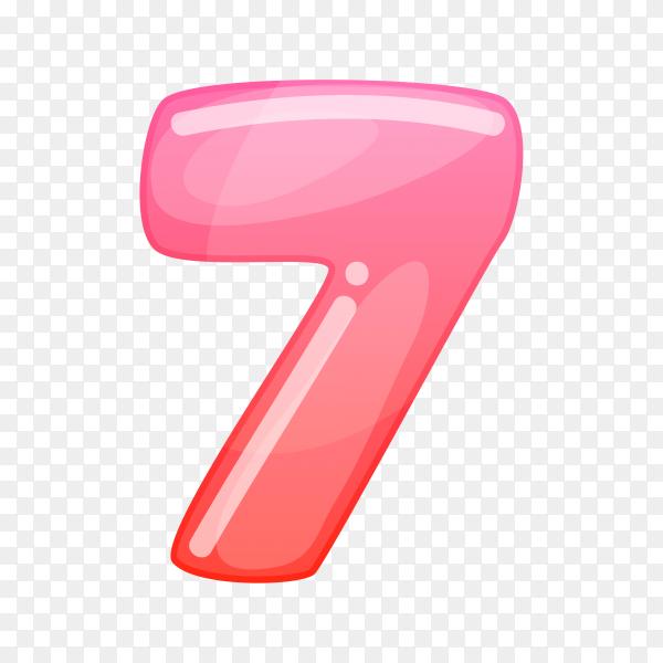 Number Seven in flat design on transparent background PNG