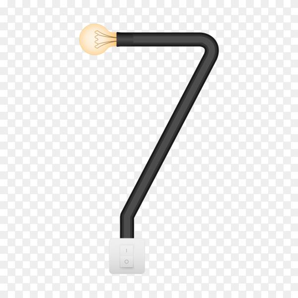 Number Seven with bulb lights design on transparent background PNG