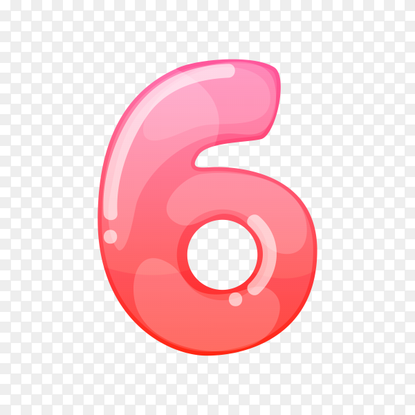 Number Six in flat design on transparent background PNG