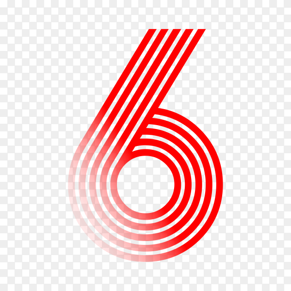 Number Six in red color on transparent background PNG