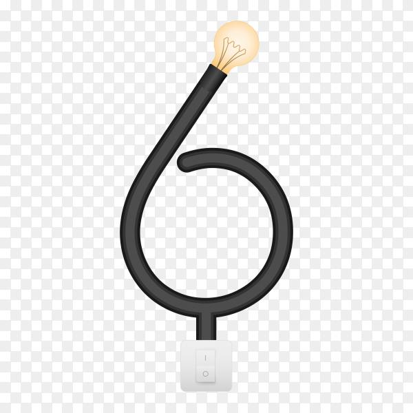 Number Six with bulb lights design on transparent background PNG