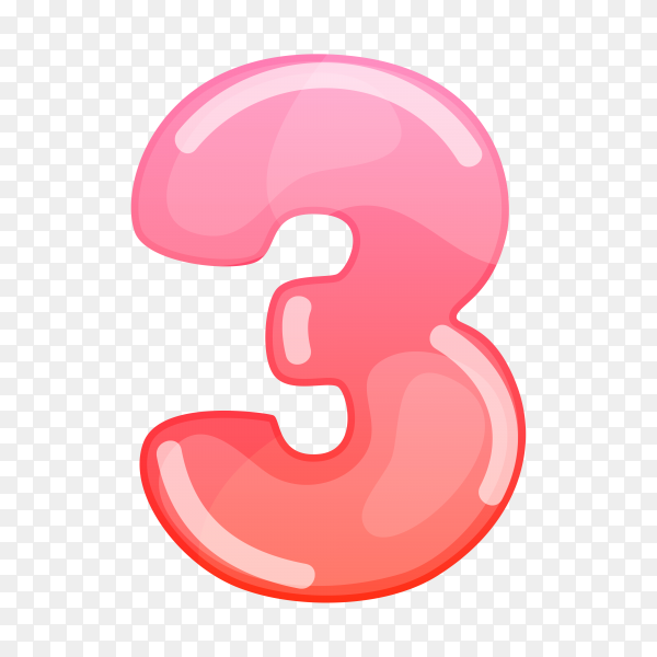 Number Three in flat design on transparent background PNG