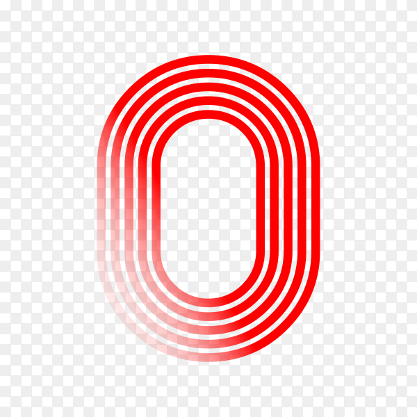 Number Zero in red color on transparent background PNG