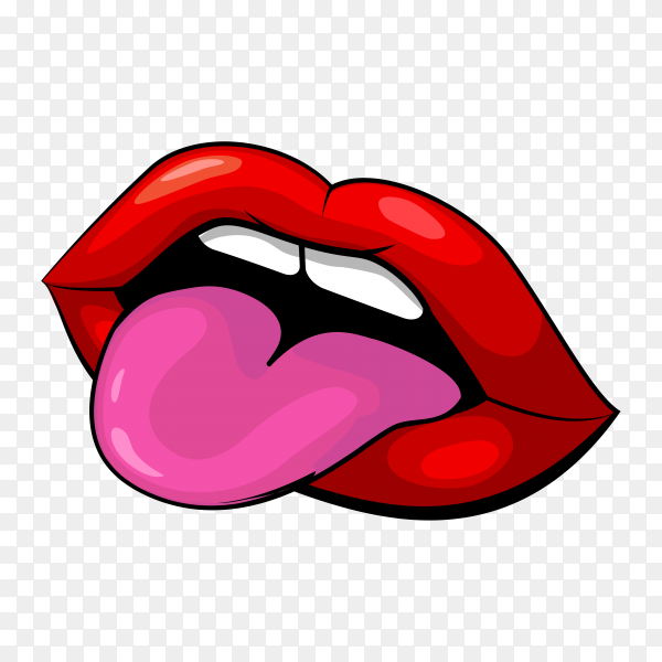 Open mouth with red lips and tongue on transparent background PNG