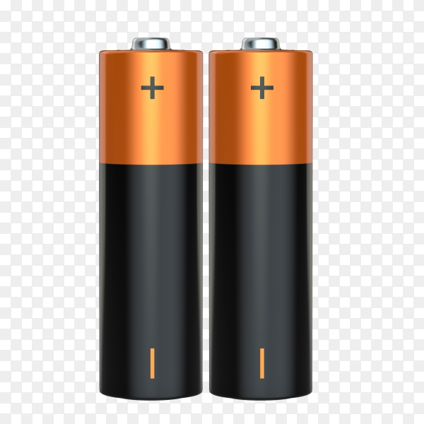 Pair of aa alkaline batteries on transparent background PNG