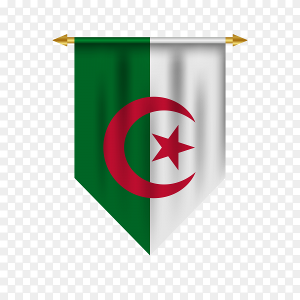 Pennant with Algeria flag isolated on transparent background PNG