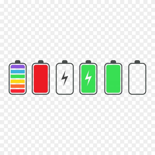Phone battery charge status flat symbols premium vector PNG