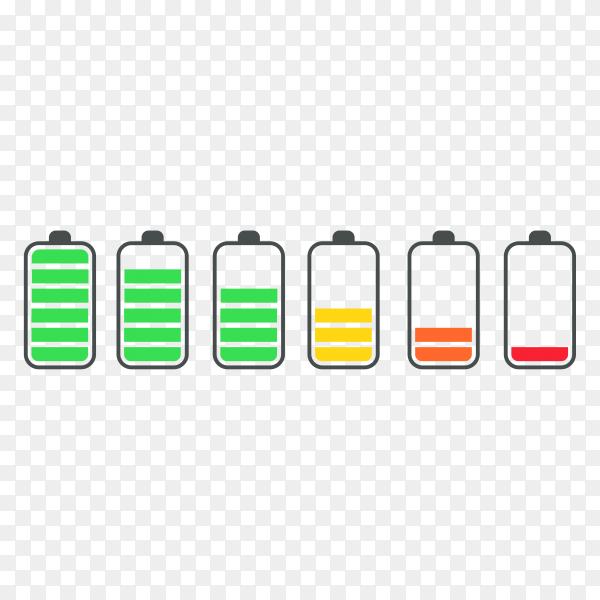 Phone battery charge status flat symbols set on transparent background PNG