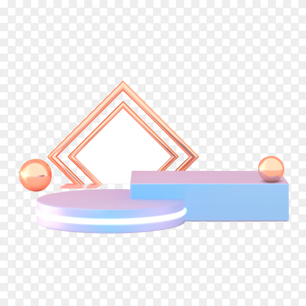 Podium, pedestal or platform in pink and blue on transparent background PNG