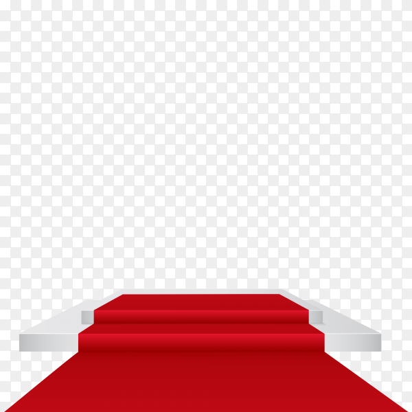 Podium with red carpet on transparent background PNG