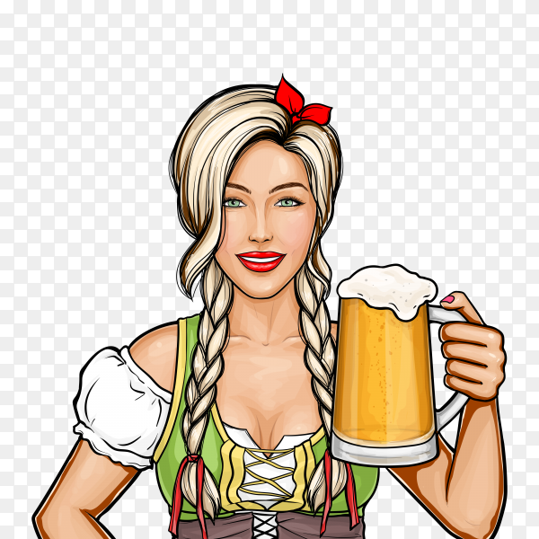 Pop art beautiful female waitress holding glass of beer in her hand on transparent background PNG