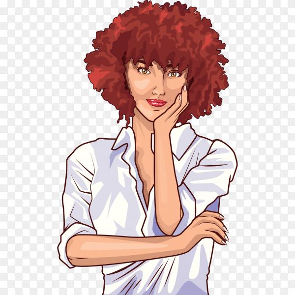 Pop art beautiful woman cartoon on transparent background PNG