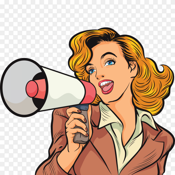 Pop art beautiful woman with megaphone on transparent background PNG
