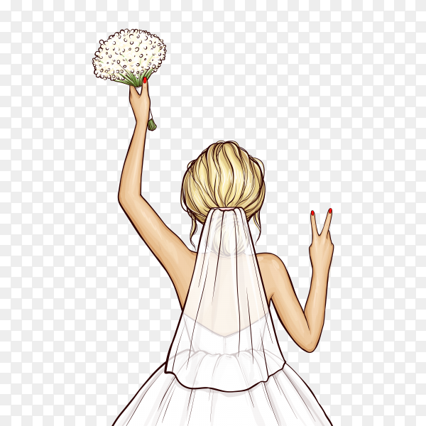 Pop art bride in wedding dress with bouquet on transparent background PNG
