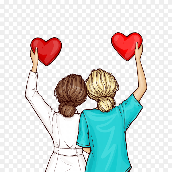 Pop art doctor and nurse holding red hearts on transparent background PNG