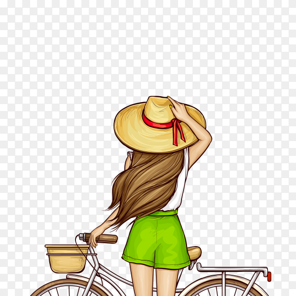 Pop art girl in beach with bicycle on transparent background PNG