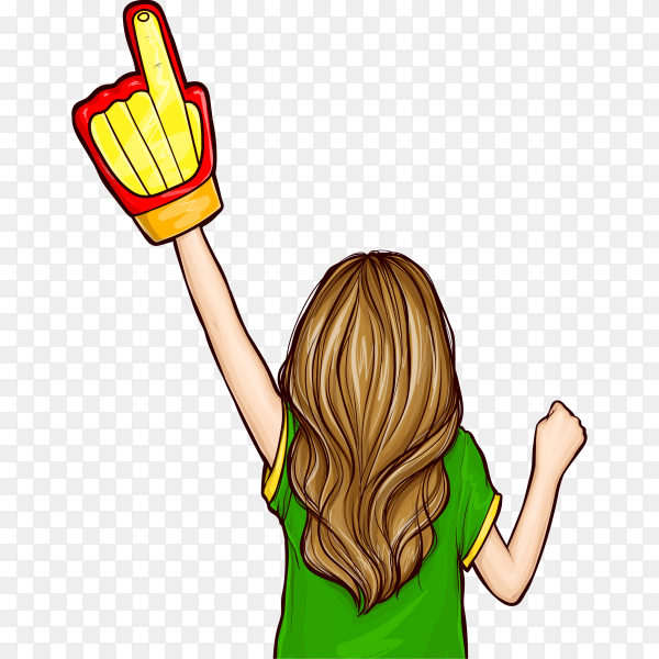Pop art girl with a football fan glove on transparent background PNG