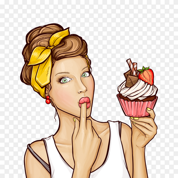 Pop art girl with sweet cupcake on transparent background PNG
