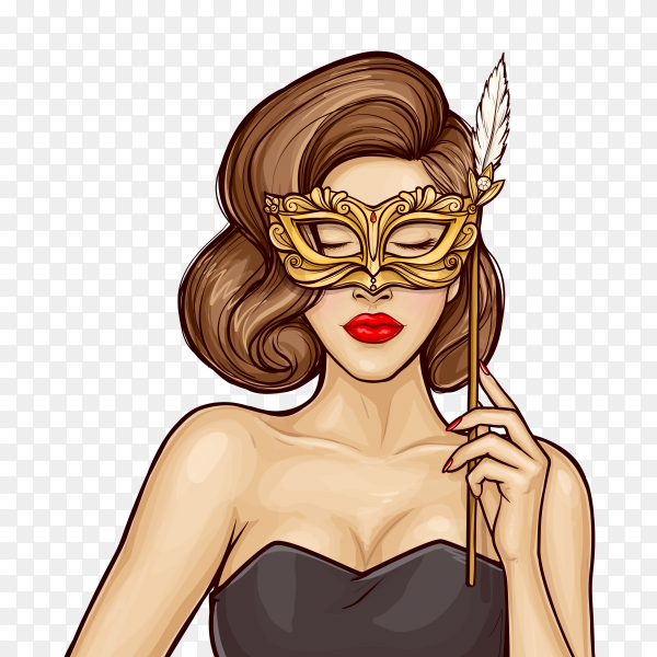 Pop art pretty woman with carnival mask on transparent background PNG