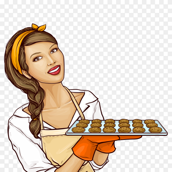 Pop art woman holding tray with cookies on transparent background PNG