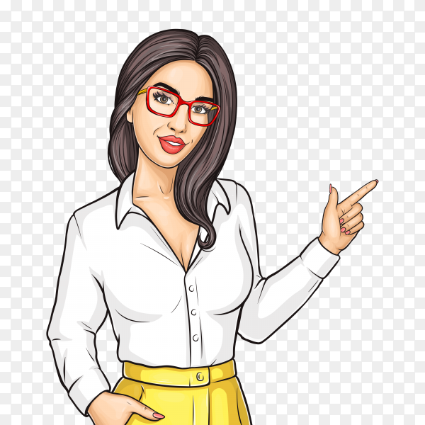 Pop art woman point with index finger on something on transparent background PNG