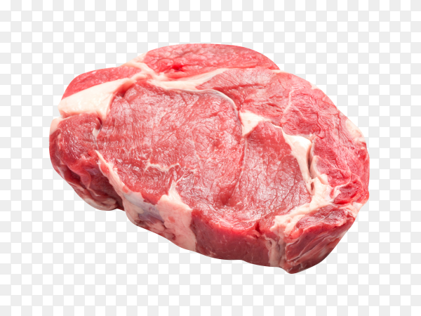 Raw beef steak on transparent background PNG