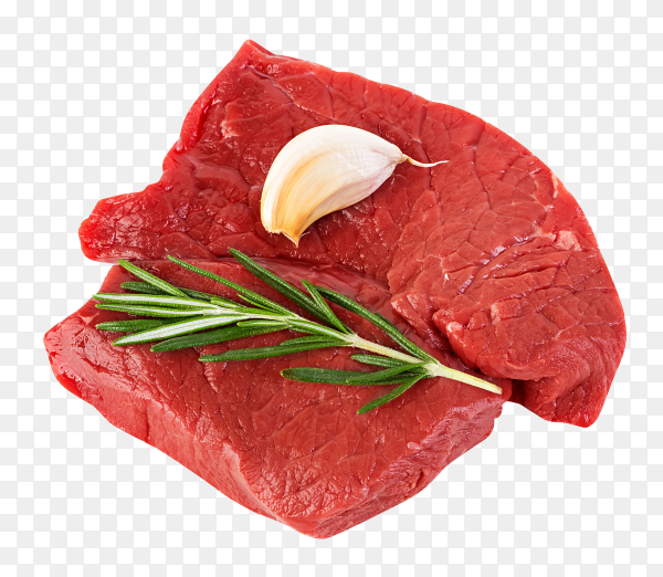 Raw beef steaks with rosemary on transparent background PNG