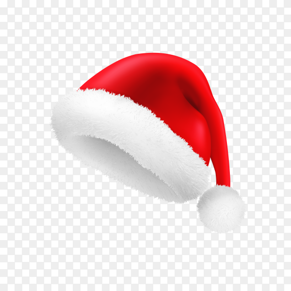 Realistic Red Santa Claus hat isolated Clipart PNG
