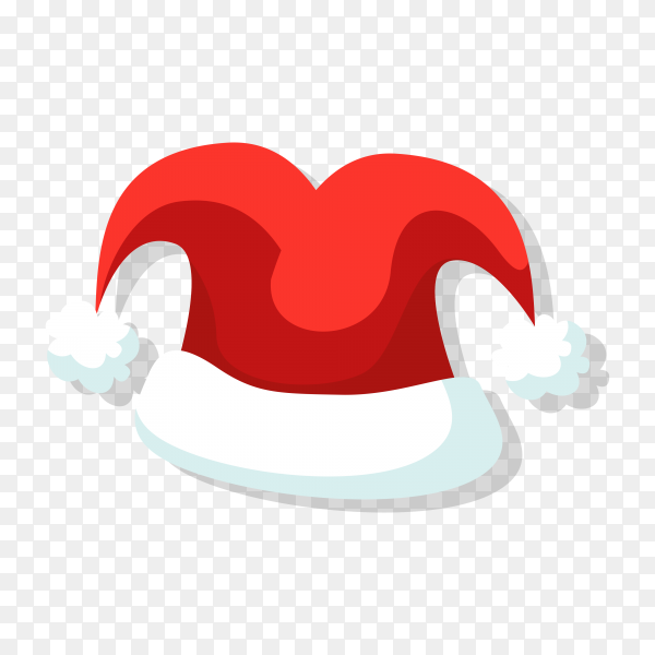 Realistic Red Santa Claus hat isolated on transparent PNG