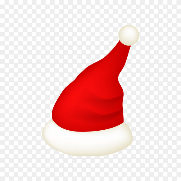 Realistic Santa Claus hat isolated on transparent PNG